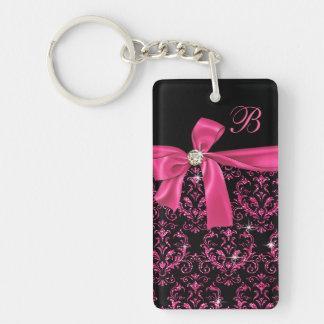 Elegant Black Pink Damask Diamond Bow Monogram Keychain