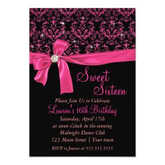 Elegant Black Pink Damask Sweet Sixteen Party Card