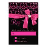 Elegant Black Pink Damask Sweet Sixteen Party RSVP Personalized Invitation