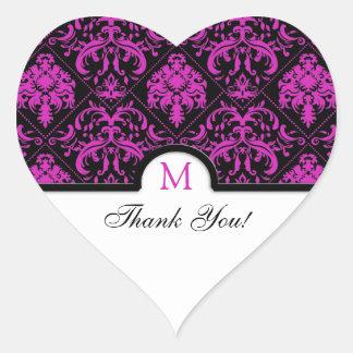 Elegant Black & Pink Damask Thank You Heart Sticker