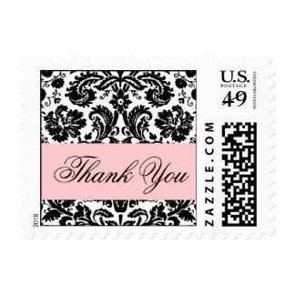 Elegant Black Pink Damask Thank You Postage