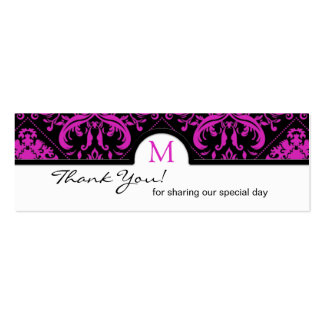 Elegant Black & Pink Damask Thank You Tags Double-Sided Mini Business Cards (Pack Of 20)