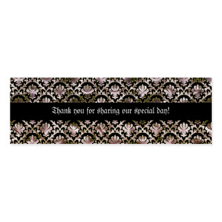 Elegant black pink damask wedding tags business cards