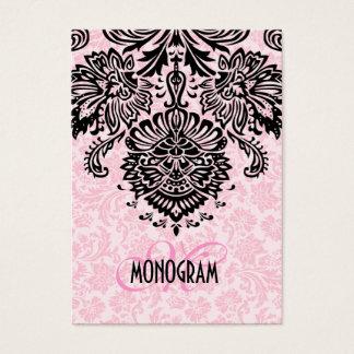 Elegant Black & Pink Floral Damasks Business Card