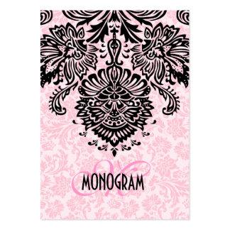 Elegant Black & Pink Floral Damasks Business Cards