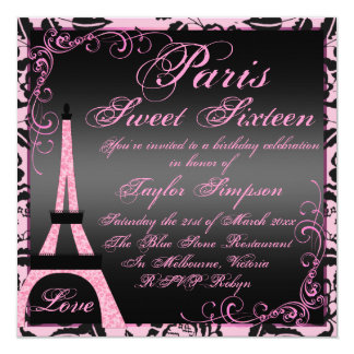 Elegant Black & Pink Paris Sweet16 Birthday Invite