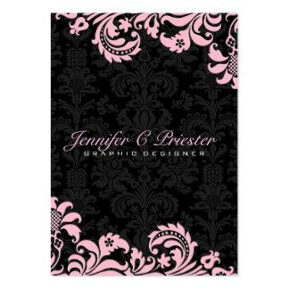 Elegant Black & pink  Vintage Floral Damasks 2 Large Business Cards (Pack Of 100)