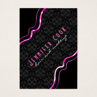 Elegant Black & Pink Vintage Floral Damasks 2 Business Card