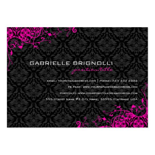 Elegant Black & Pink  Vintage Floral Damasks Business Cards (back side)