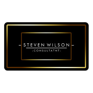 Elegant Black Professional Modern Plain Gold Double-Sided Standard Business Cards (Pack Of 100)