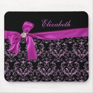 Elegant Black Purple Damask Diamond Bow Custom Mouse Pad