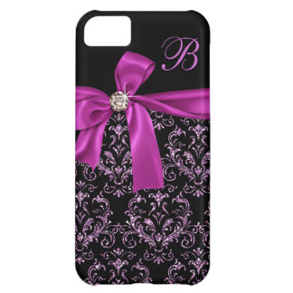 Elegant Black Purple Damask Diamond Bow Monogram Cover For iPhone 5C