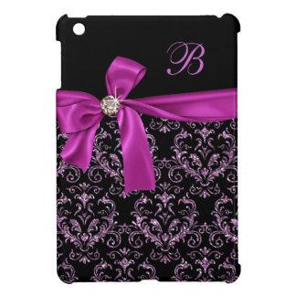 Elegant Black Purple Damask Diamond Bow Monogram iPad Mini Cover