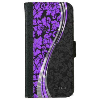 Elegant Black & Purple Damasks With Silver Accents iPhone 6 Wallet Case