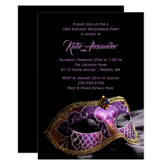 Elegant Black Purple Sweet 16 Masquerade Party Invitation