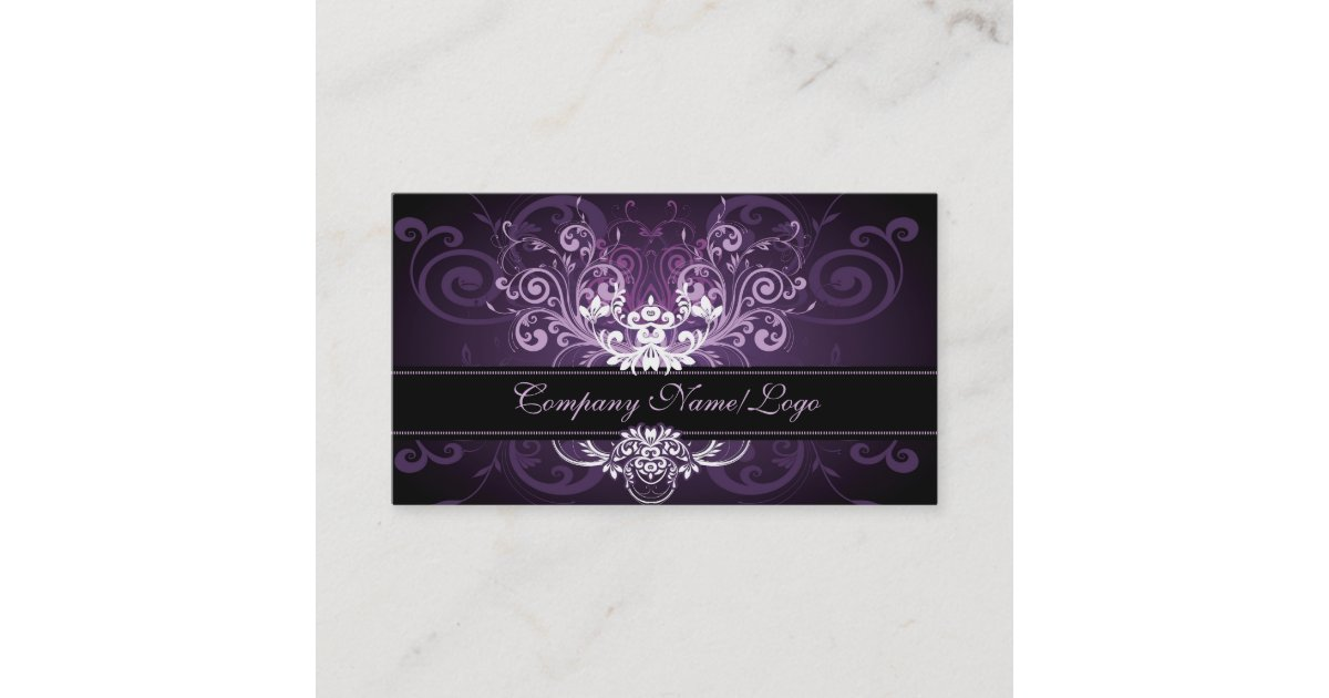 Elegant Black Purple White Tones Vintage Frame 2 Business Card