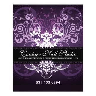 "Elegant Black Purple & White Tones Vintage Frame 4.5"" X 5.6"" Flyer"