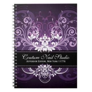 Elegant Black Purple & White Tones Vintage Frame Spiral Notebook