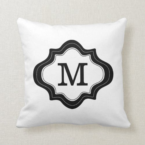 Elegant Black Quatrefoil Frame Monogrammed White Throw Pillow