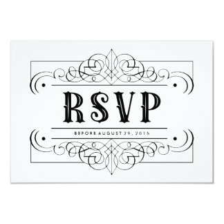 "Elegant Black Quinceañera South Western RSVP Card 3.5"" X 5"" Invitation Card"