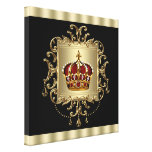 Elegant Black Red and Gold Crown Canvas Wall Art Canvas Print