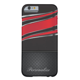 Elegant Black, Red and Silver Metal Design Barely There iPhone 6 Case