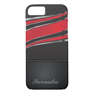 Elegant Black, Red and Silver Metal Design iPhone 7 Case