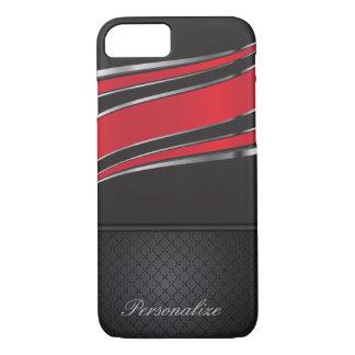 Elegant Black, Red and Silver Metal Design iPhone 8/7 Case