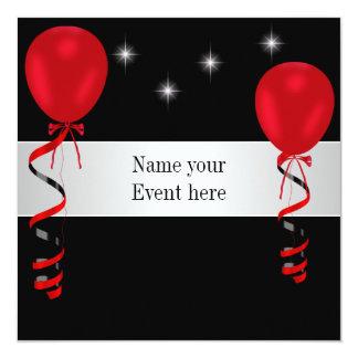 Elegant Black Red Balloons Special Event 5.25x5.25 Square Paper Invitation Card