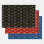 [ Thumbnail: Elegant Black, Red, Blue, Faux Gold 12th Event # Wrapping Paper Sheets ]