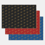 [ Thumbnail: Elegant Black, Red, Blue, Faux Gold 1st Event Wrapping Paper Sheets ]