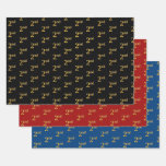 [ Thumbnail: Elegant Black, Red, Blue, Faux Gold 2nd Event # Wrapping Paper Sheets ]
