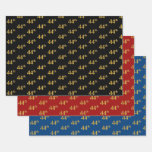 [ Thumbnail: Elegant Black, Red, Blue, Faux Gold 44th Event # Wrapping Paper Sheets ]