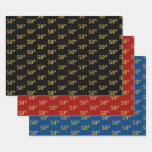 [ Thumbnail: Elegant Black, Red, Blue, Faux Gold 50th Event # Wrapping Paper Sheets ]
