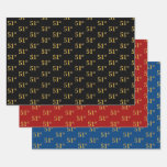 [ Thumbnail: Elegant Black, Red, Blue, Faux Gold 51st Event # Wrapping Paper Sheets ]