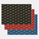 [ Thumbnail: Elegant Black, Red, Blue, Faux Gold 56th Event # Wrapping Paper Sheets ]