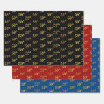 [ Thumbnail: Elegant Black, Red, Blue, Faux Gold 59th Event # Wrapping Paper Sheets ]