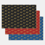 [ Thumbnail: Elegant Black, Red, Blue, Faux Gold 61st Event # Wrapping Paper Sheets ]