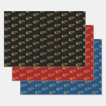 [ Thumbnail: Elegant Black, Red, Blue, Faux Gold 67th Event # Wrapping Paper Sheets ]