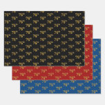 [ Thumbnail: Elegant Black, Red, Blue, Faux Gold 76th Event # Wrapping Paper Sheets ]