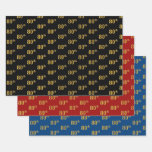[ Thumbnail: Elegant Black, Red, Blue, Faux Gold 80th Event # Wrapping Paper Sheets ]