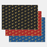 [ Thumbnail: Elegant Black, Red, Blue, Faux Gold 8th Event # Wrapping Paper Sheets ]
