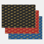 [ Thumbnail: Elegant Black, Red, Blue, Faux Gold 90th Event # Wrapping Paper Sheets ]