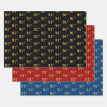[ Thumbnail: Elegant Black, Red, Blue, Faux Gold 91st Event # Wrapping Paper Sheets ]