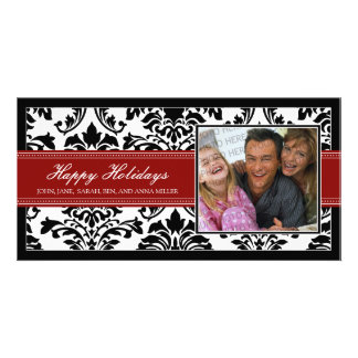 Elegant Black & Red Damask Custom Happy Holidays Card