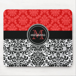 Elegant Black Red Damask Personalized Mouse Pad