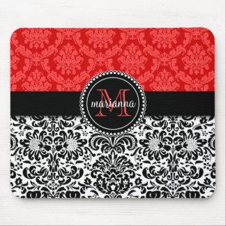 Elegant Black Red Damask Personalized Mousepads