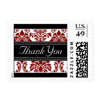 Elegant Black & Red Damask Ribbon Thank You Stamps