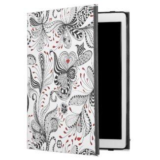 Elegant Black & Red Exotic Flowers Pattern iPad Pro Case