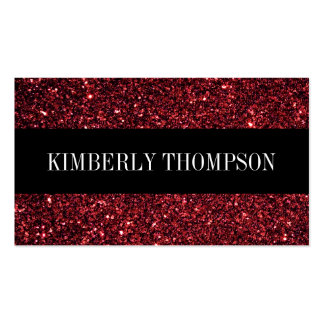 Elegant Black & Red Glitter Double-Sided Standard Business Cards (Pack Of 100)